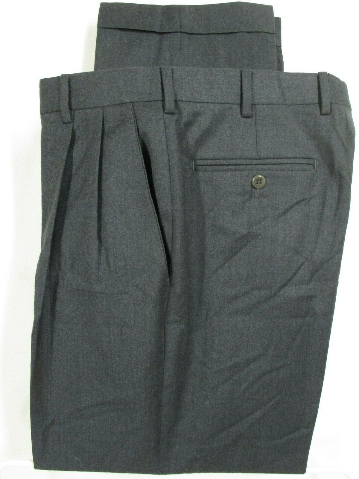 Zanella Bennett Mens Grey Pleated Wool Dress Pants Size 33 33x29