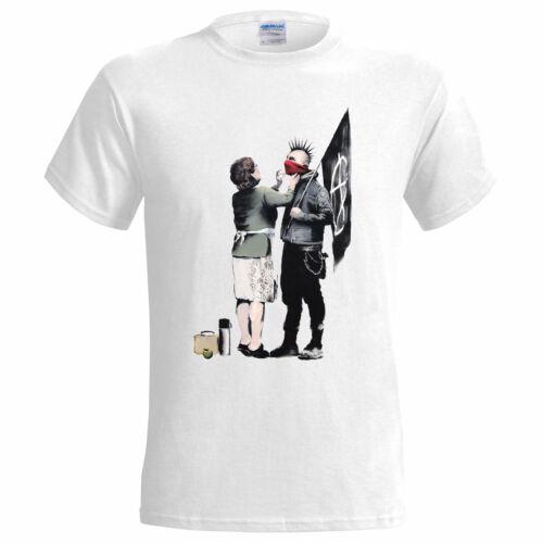 BANKSY PUNK MUM Cotton White T Shirt//Graffiti//Urban//Art//Mens//Tee//Gift//Top