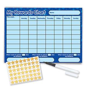 Riutilizzabile-comportamento-Reward-Chart-Compresi-Gratis-Adesivi-E-Penna-STELLE-BLU