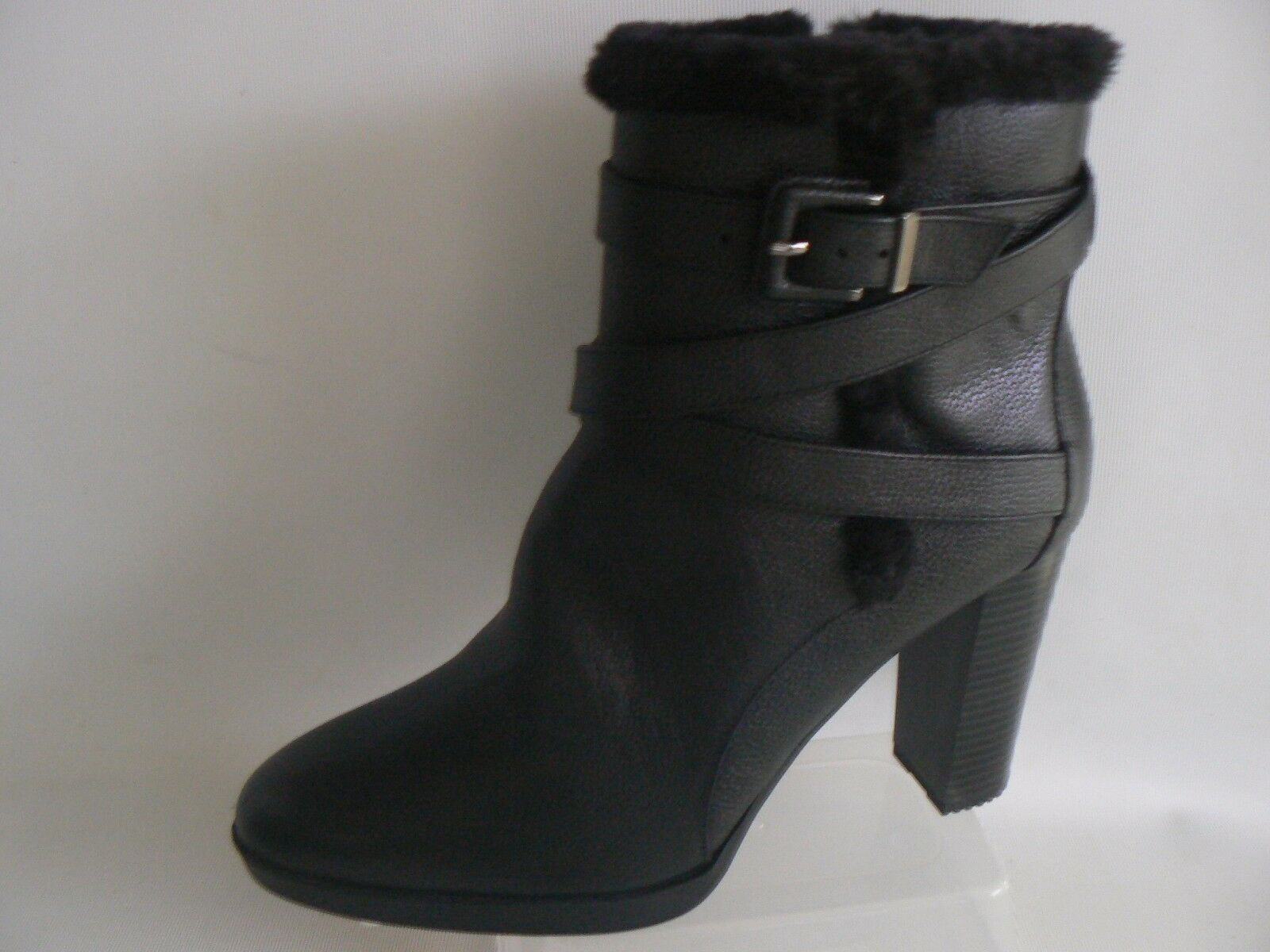 MARKS & SPENCER Black Leather Ankle Boots UK Size 8  Strapping Detail