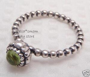 38ec91984 Image is loading AUGUST-BIRTHDAY-BLOOMS-Authentic-PANDORA-Silver -GREEN-PERIDOT-