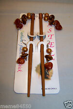 Light Brown Dangle Wooden Hair Sticks With Matching Earrings