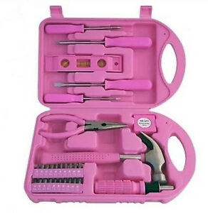 Pink ladies women females 30 piece girls tool set with for Garden tool set for women