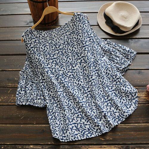 UK Women Summer Cold Shoulder Crew Neck Floral Top Tee Shirt Blouse Plus Size