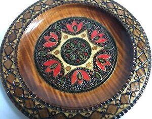 Krakow-Poland-Folk-Art-Decorative-Carved-Wood-Plate-Metal-Inlay-Pyrography