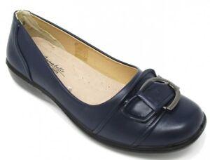 Womens Annabelle Navy Buckle Wedge Heel