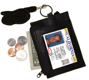 Solid-LEATHER-ID-CARD-Badge-Holder-Neck-Zip-Pouch-Key-Ring-Wallet-with-strap-New