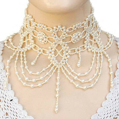CREAM PEARL GRAND VICTORIAN BEADED NECKLACE CHOKER STATEMENT JEWELRY N41/1