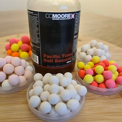 Mainline Cell pop ups soaked in CC Moore Pacific Tuna Bait Boost