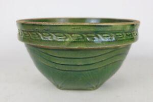 "Vintage McCoy Pottery 10"" Kitchen Green Glaze Sunrise Yellow Ware Mixing Bowl"