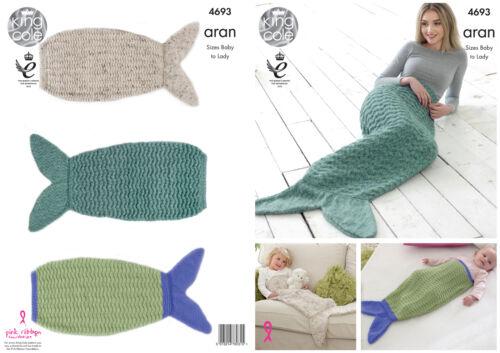 Queue de sirène couvertures knitting pattern baby à taille adulte king cole aran 4693