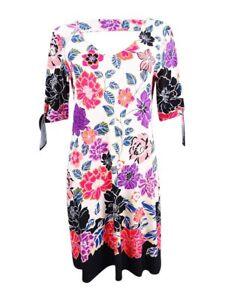Msk-Women-039-s-Printed-Cold-Shoulder-Cutout-Dress