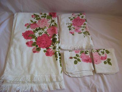 Vtg Fieldcrest 4 PC Bath Hand Towel Wash Cloth Set Pink Rose Cascade Flower USA