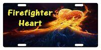Firefighter Custom License Plate Fire Department Emblem Heart Version