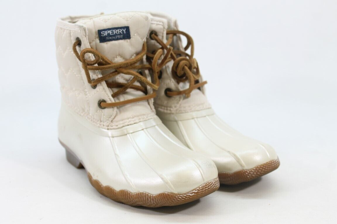 Sperry Saltwater Girl's Big Kid Ivory Boots 1M(ZAP11959)