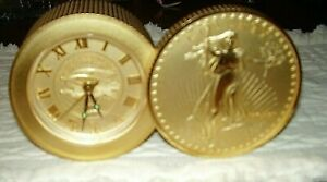 Vintage-BULOVA-Quartz-Alarm-Lady-Liberty-20-Gold-Coin-Stack-JAPAN
