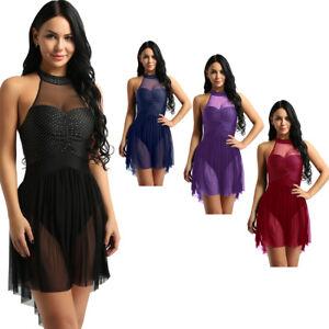 Women-Lyrical-Tutu-Skirt-Leotard-Unitard-Dress-Costume-Ballroom-Ballet-Dancewear