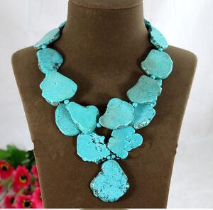 Woman-Gift-Exaggerate-Irregular-Turquoise-Slice-Choker-Necklace-Pendant-Bead