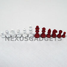 RED & WHITE Chess Pieces 2 IN KING Small Classic Set Wood Wooden Game NO BOARD