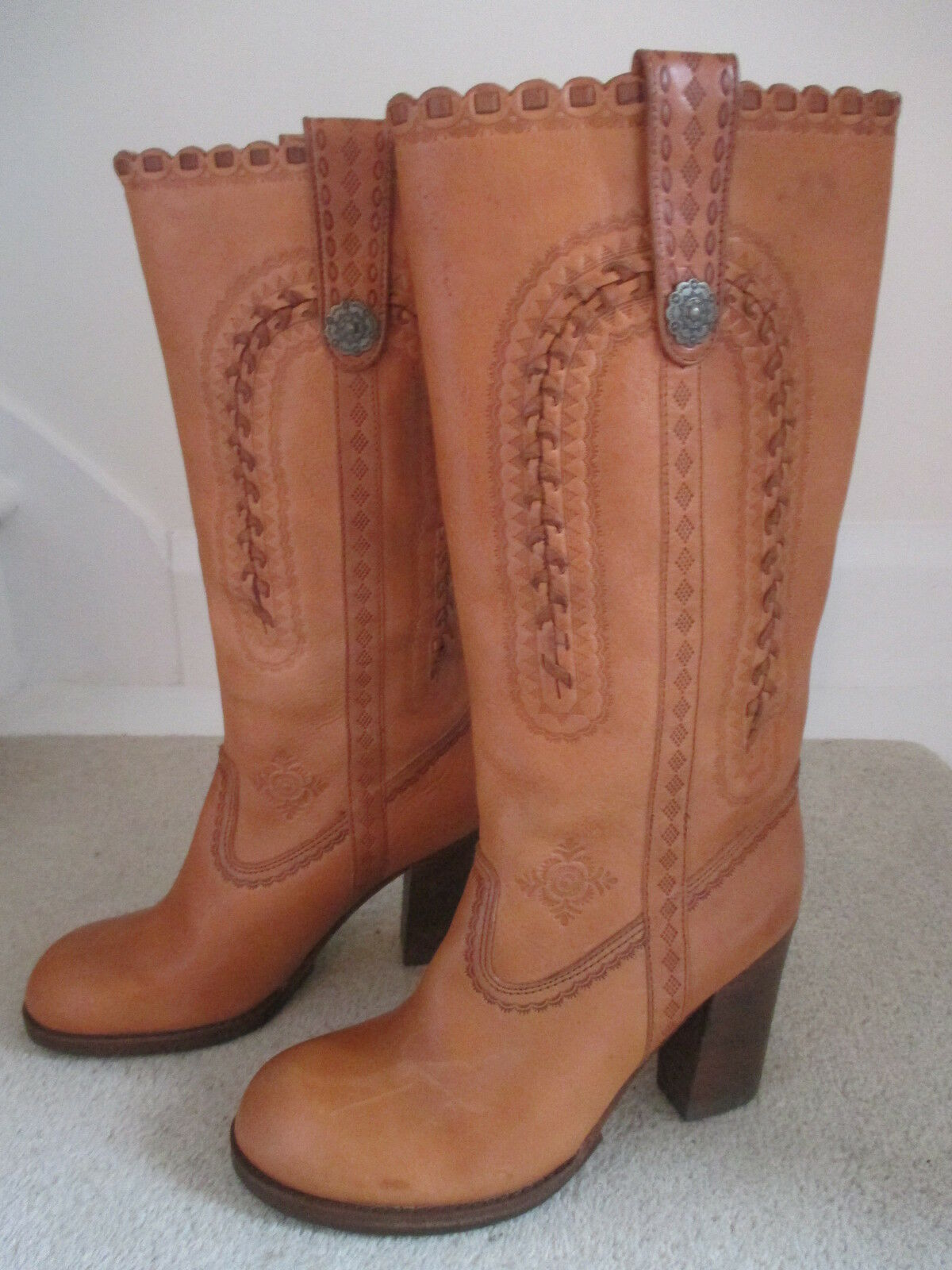 ASH LADIES NEW TAN LEATHER LEATHER LEATHER LONG Stiefel SIZE 4 ( 37 ) 207991