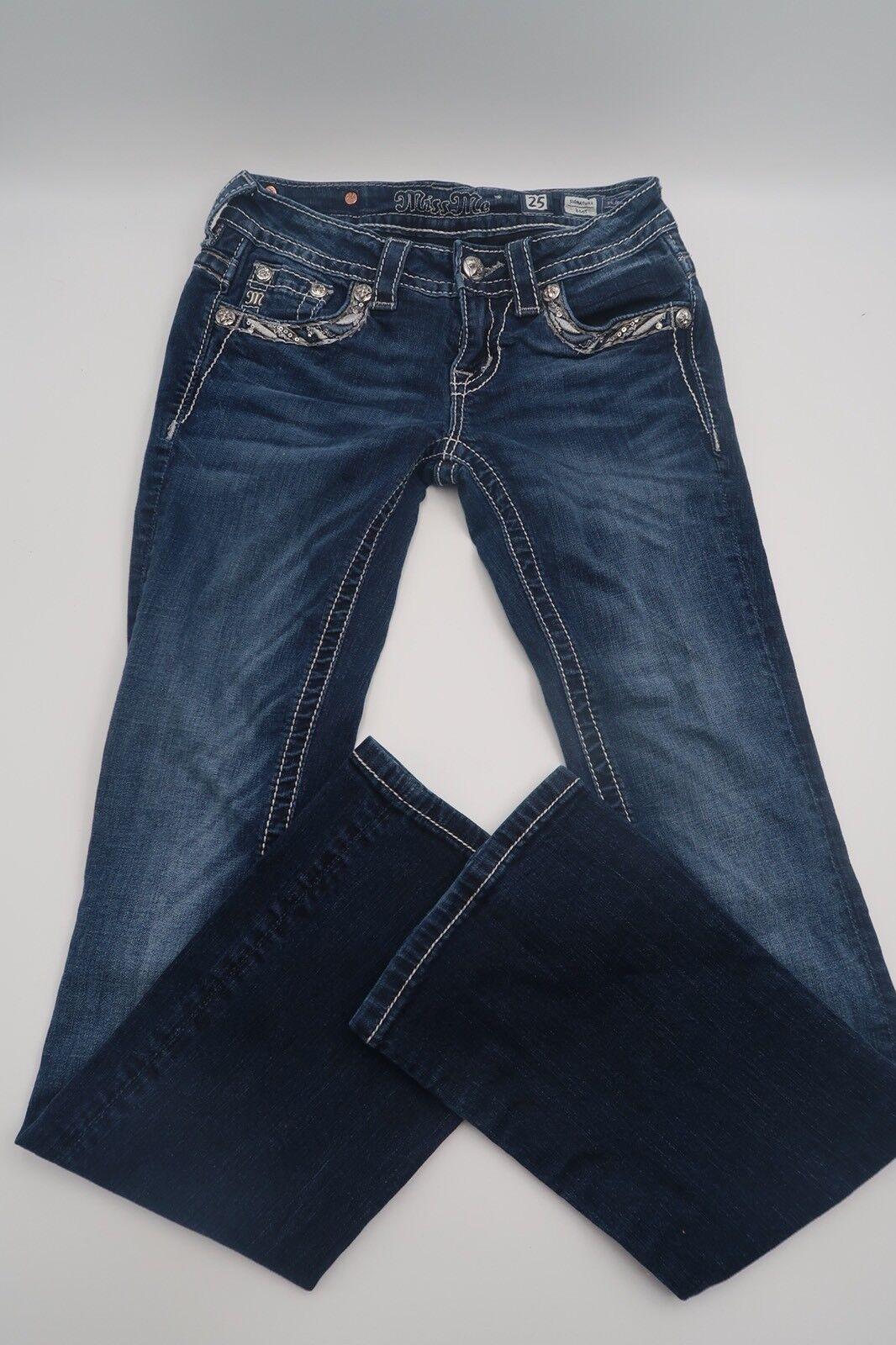 Miss Me 25 Signature Boot JE8202BR Rhinestones Sequins bluee Denim Jeans
