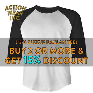 SHAKA-MENS-PLAIN-BASEBALL-T-SHIRT-3-4-SLEEVE-CASUAL-RAGLAN-TEE-ACTIVE-HIP-HOP