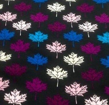 Jersey Coton Tissu Coloré Feuilles Automne Noir Bleu Violet Rose Blanc