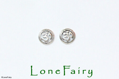 Solid 925 Sterling Silver Round Ohm Symbol Stud Earrings Spiritual Hindu 7mm