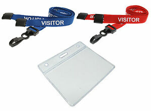 PRE PRINTED VISITOR Lanyards Neck Strap With ID badge Pocket Pouch FREE P&P Lot