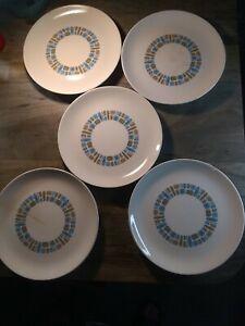 "5 Vintage Canonsburg Pottery Temporama  10"" Dinner Plates (READ DESCRIPTION)"