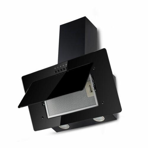 Dunstabzugshaube Kopffreihaube schwarz Glas 60cm Schräghaube Umluft Abluft NEU
