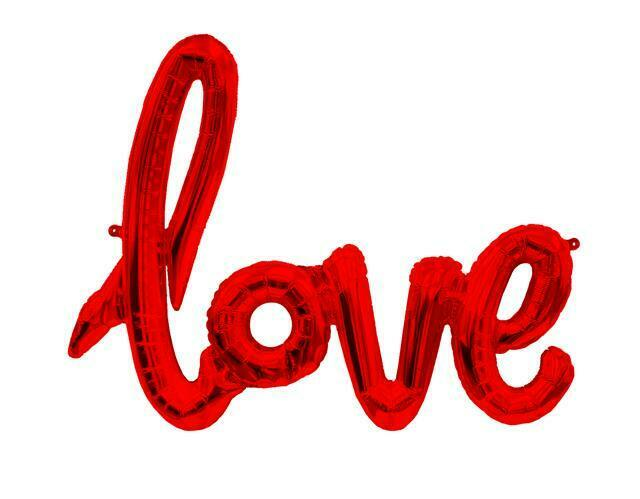 Love Red Script Air Fill Foil 40 Inch
