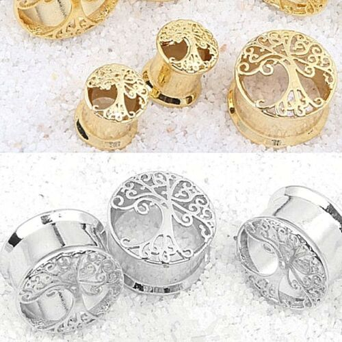 Tree Of Life Gold Earring Tunnel Flared Ear Plug Saddle Stretcher Wicca New Age