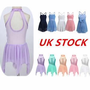 UK-Girls-Ballerina-Dance-Dress-Latin-Gym-Ballet-Leotard-Sequins-Skirts-Dancewear