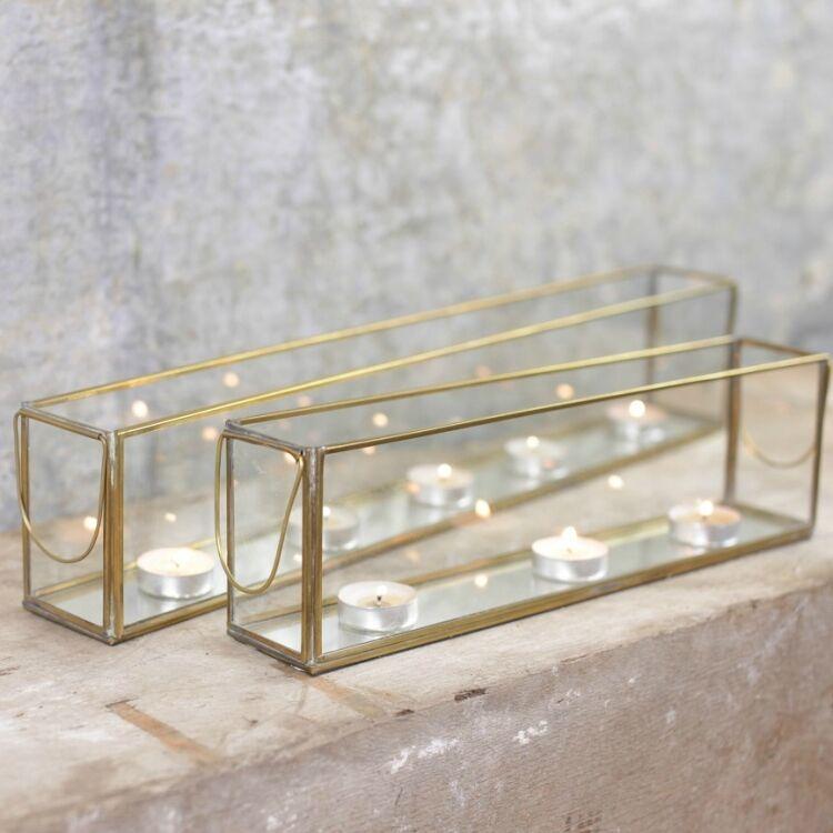 Antique Brass & Glass Tea Light Box, Candle Holder Lantern, Large Bequai Nkuku