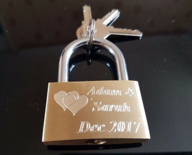 Engraved Love Lock Padlock 40mm - FREE ENGRAVING -Valentines Gift - Best quality