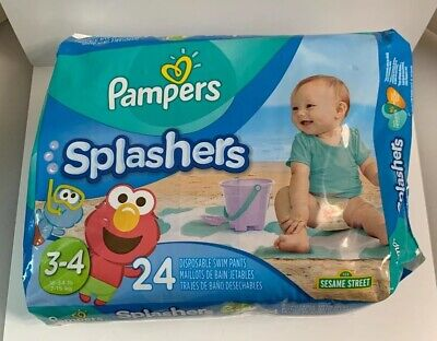 16-34 lbs 3 Pack 24 Pampers Splashers Disposable Swim Sesame Street size 3-4