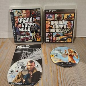 Sony-Playstation-3-Rockstar-Games-Lot-of-2-GTA-Grand-Theft-Auto-IV-V