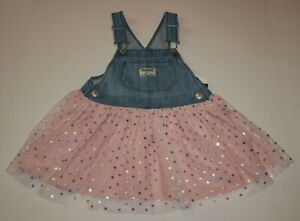 New-OshKosh-Girls-Jumper-Dress-Overalls-Soft-Tulle-Pink-Skirt-NWT-2T-3T-4T-5T