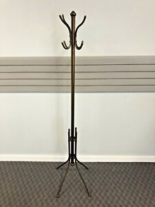 Vintage BRASS COAT RACK Hollywood Regency gold metal hall tree hanger solid 60s