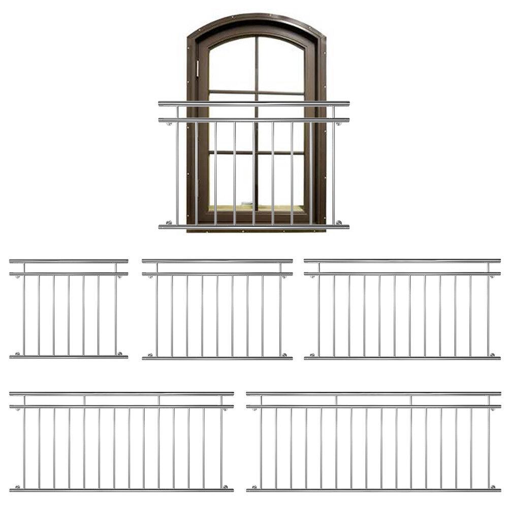 Balustrade De Balcon Fenêtre Gril Français Main Courante Acier Inoxydable V2Aox