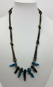 Ann Taylor LOFT long necklace teal faux branch coral on brown leather and chain