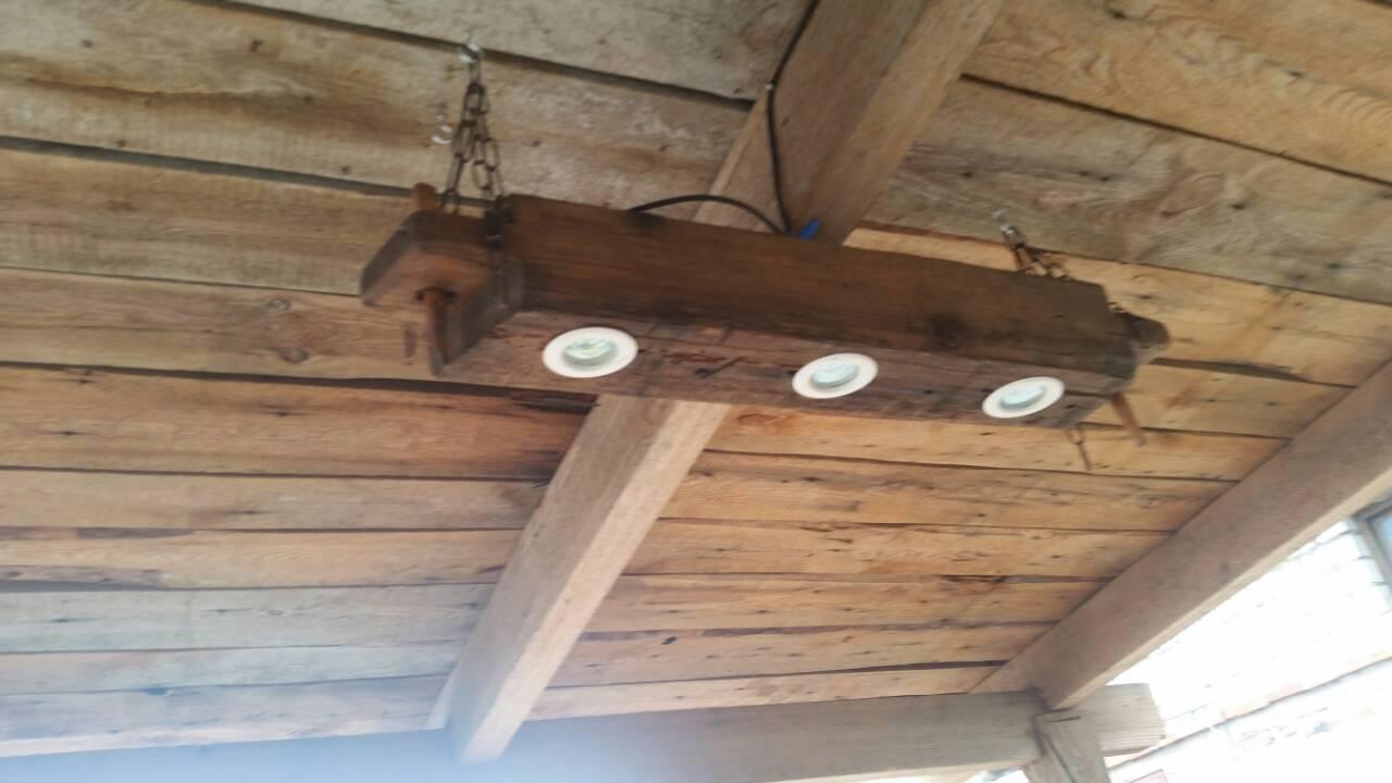 Balkenlampe – Hängeleuchte - Altholzbalkenlampe