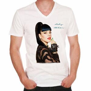 Lily-Allen-t-shirt-homme-Manches-Courtes-Coton-blanc-cadeau