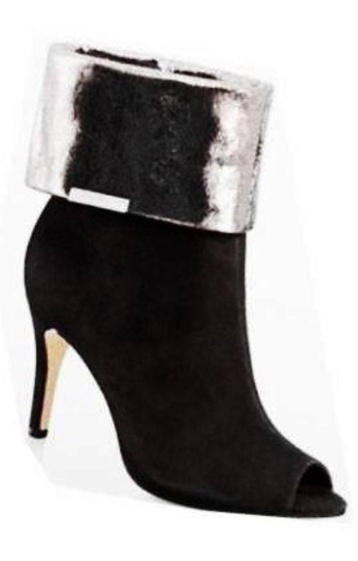 Womens Calvin Klein KAIYA Open Toe Cuff Bootie Suede Pumps Boots Suede Bootie Black Gunmetal e7f144