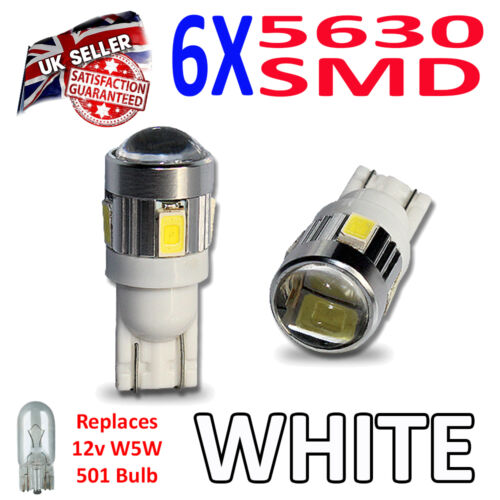 2 x SUPER BRIGHT 5630 SMD 501 LED Bulbs with Lens Side Plate Interior W5W T10