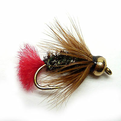 3x, 6x or 12x Fly Fishing Trout Flies (GBWF18) RED TAG Goldhead Wet Fly