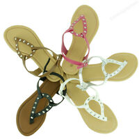 Womens Sandal New Fashion Spike Flip Flop Flat Thongs Cute Studded Style Sandals
