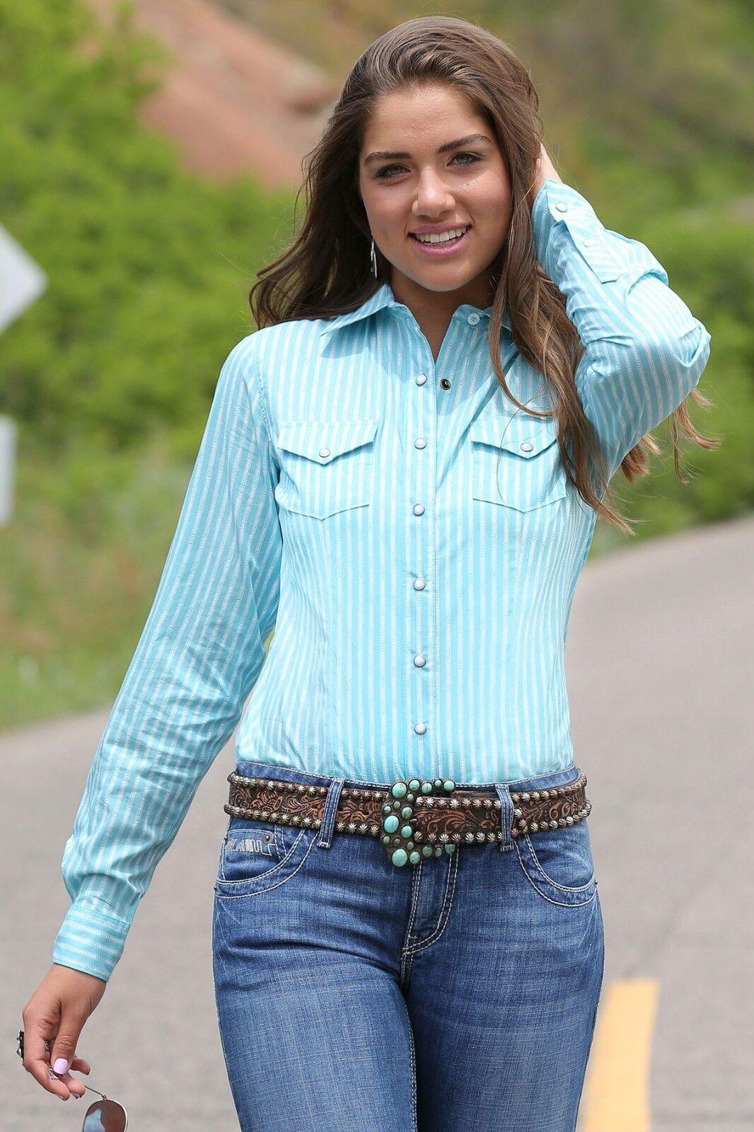 Cruel Girl Woherren Light Teal & Weiß Striped Snap Up Western Shirt CTW7053004