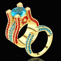 Size 6 2Pcs Set Wedding Engagement Blue CZ Ring Gold Rhodium Statement Cocktail